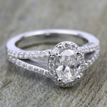 Halo Split Shank Diamond Engagement Ring in White Gold | Thumbnail 05