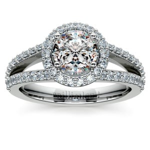 Halo Split Shank Diamond Engagement Ring in White Gold