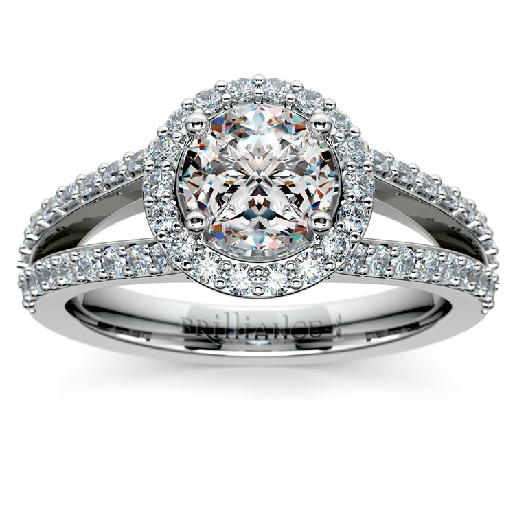 Halo Split Shank Diamond Engagement Ring in White Gold | 01