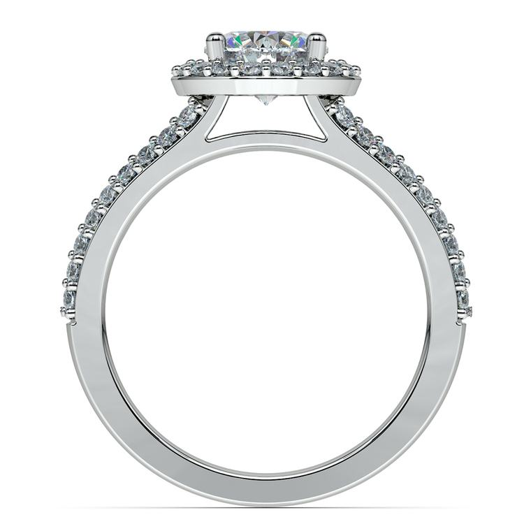 Halo Split Shank Diamond Engagement Ring in White Gold | 02
