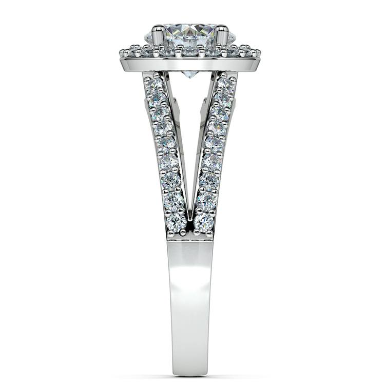 Halo Split Shank Diamond Engagement Ring in White Gold | 03