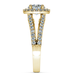Halo Split Shank Diamond Engagement Ring in Yellow Gold | Thumbnail 03