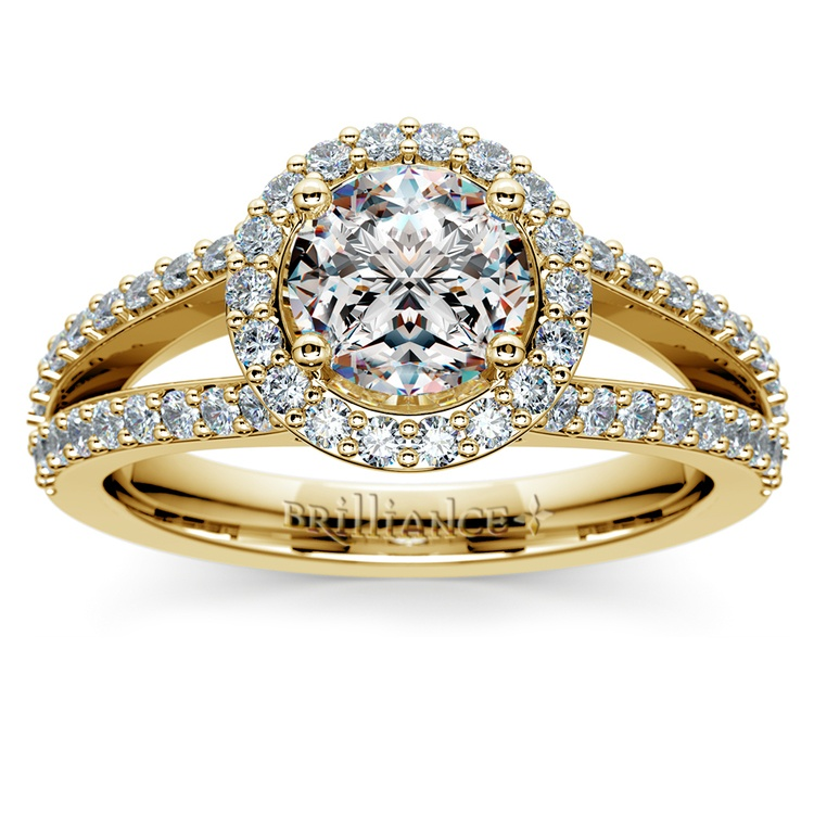 Halo Split Shank Diamond Engagement Ring in Yellow Gold | 01