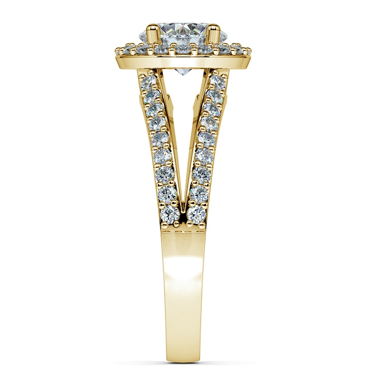 Halo Split Shank Diamond Engagement Ring in Yellow Gold | 03
