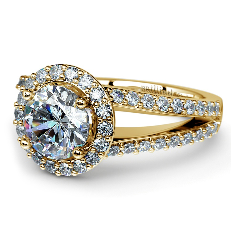 Halo Split Shank Diamond Engagement Ring in Yellow Gold | 04