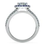 Halo Split Shank Diamond & Sapphire Engagement Ring in Platinum   Thumbnail 02