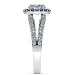 Halo Split Shank Diamond & Sapphire Engagement Ring in Platinum   Thumbnail 03