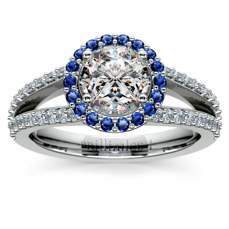 Halo Split Shank Diamond & Sapphire Engagement Ring in White Gold | 01