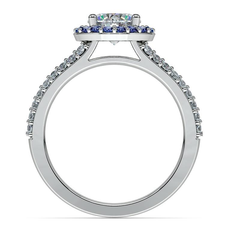 Halo Split Shank Diamond & Sapphire Engagement Ring in White Gold | 02