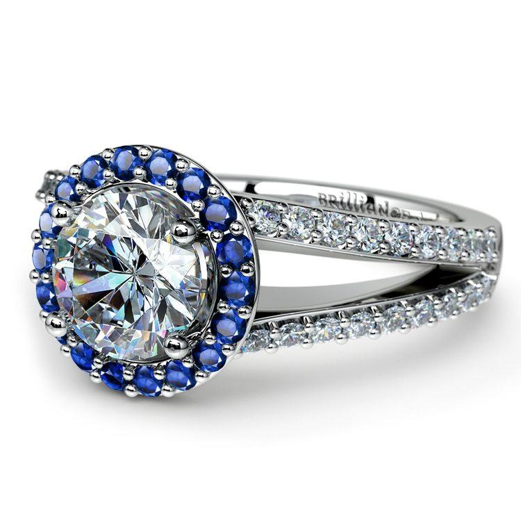 Halo Split Shank Diamond & Sapphire Engagement Ring in White Gold | 04