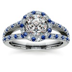Halo Split Shank Alternating Diamond & Sapphire Engagement Ring in Platinum | Thumbnail 01