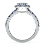 Halo Split Shank Alternating Diamond & Sapphire Engagement Ring in Platinum | Thumbnail 02
