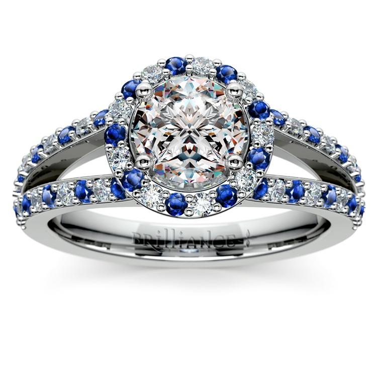 Halo Split Shank Alternating Diamond & Sapphire Engagement Ring in Platinum | 01
