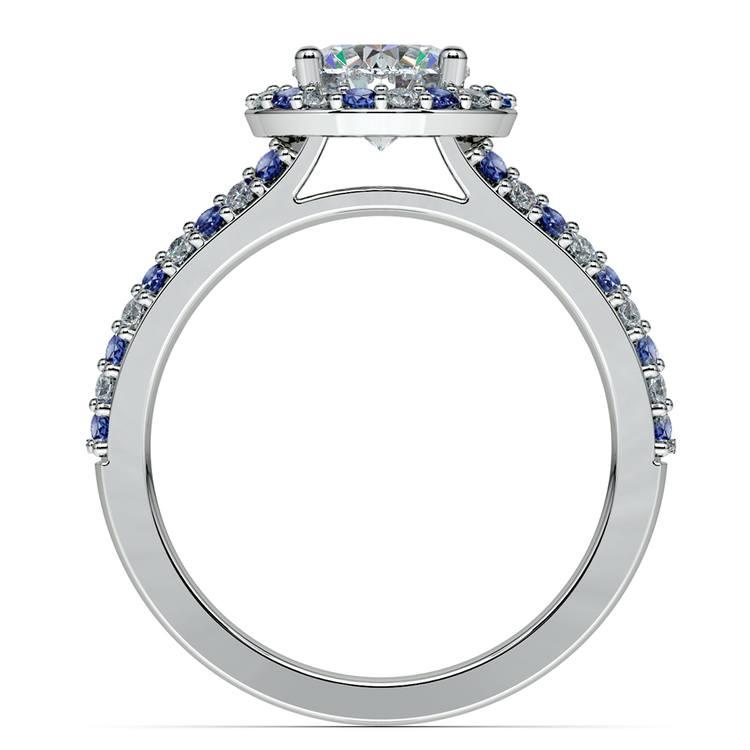 Halo Split Shank Alternating Diamond & Sapphire Engagement Ring in Platinum | 02