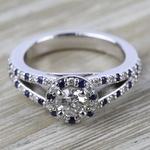 Halo Split Shank Alternating Diamond & Sapphire Engagement Ring in White Gold | Thumbnail 05