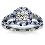 Halo Split Shank Alternating Diamond & Sapphire Engagement Ring in White Gold | Thumbnail 01