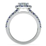Halo Split Shank Alternating Diamond & Sapphire Engagement Ring in White Gold | Thumbnail 02