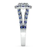 Halo Split Shank Alternating Diamond & Sapphire Engagement Ring in White Gold | Thumbnail 03