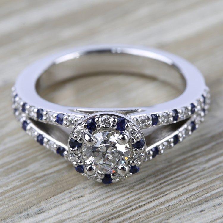 Halo Split Shank Alternating Diamond & Sapphire Engagement Ring in White Gold | 05