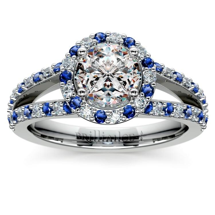 Halo Split Shank Alternating Diamond & Sapphire Engagement Ring in White Gold | 01
