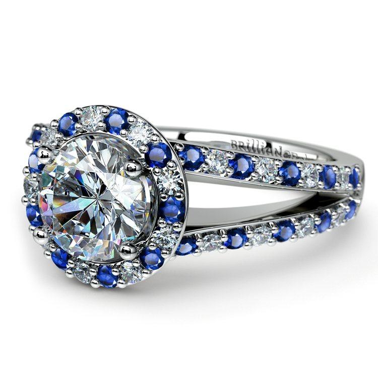 Halo Split Shank Alternating Diamond & Sapphire Engagement Ring in White Gold | 04