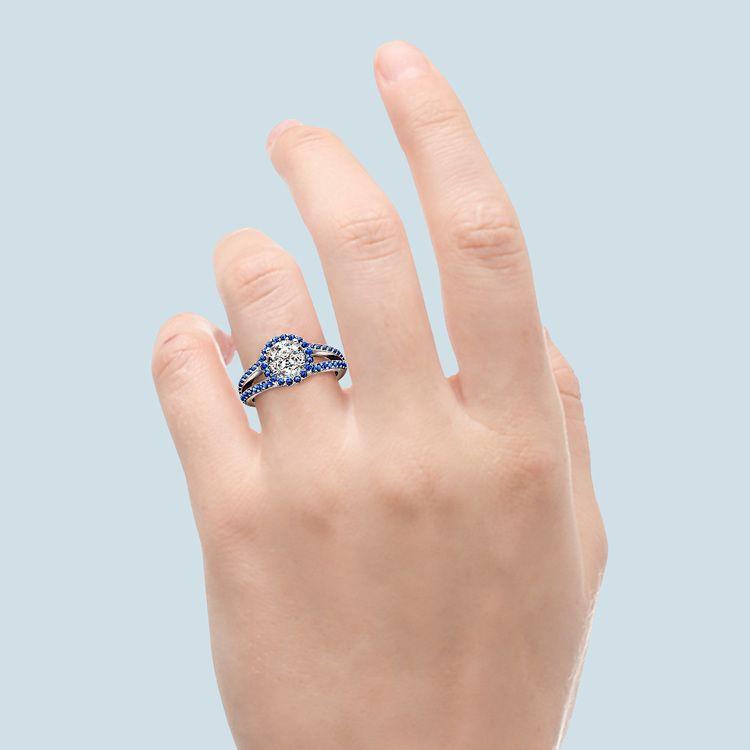 Split Shank Halo Sapphire Engagement Ring in Platinum   05