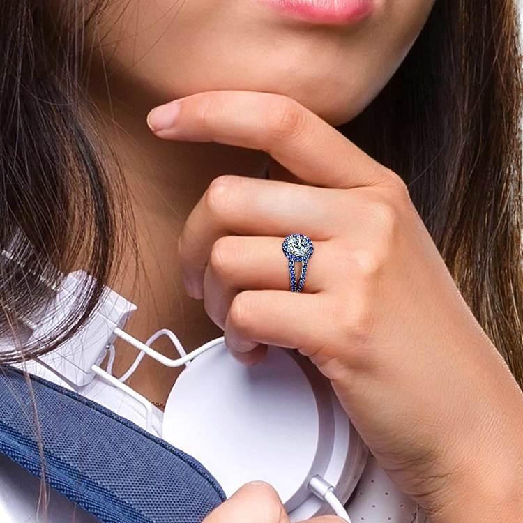 Split Shank Halo Sapphire Engagement Ring in Platinum   06