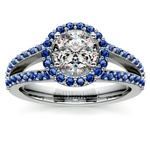 Halo Split Shank Sapphire Gemstone Engagement Ring in White Gold | Thumbnail 01