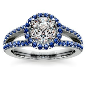 Split Shank Halo Sapphire Engagement Ring in White Gold