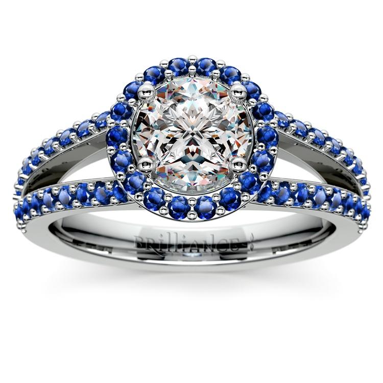 Halo Split Shank Sapphire Gemstone Engagement Ring in White Gold | 01