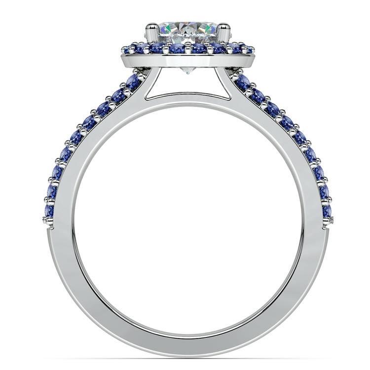Halo Split Shank Sapphire Gemstone Engagement Ring in White Gold | 02