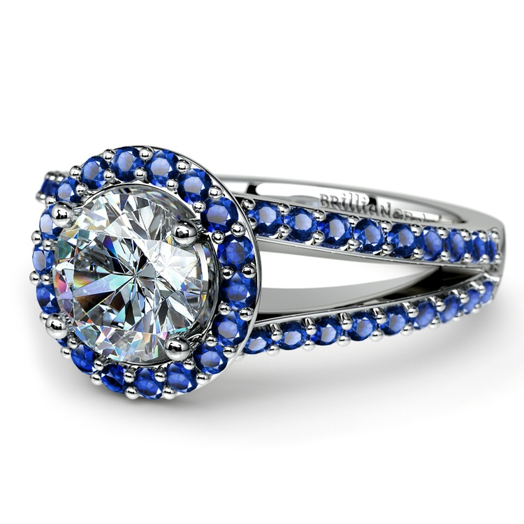 Halo Split Shank Sapphire Gemstone Engagement Ring in White Gold | 04