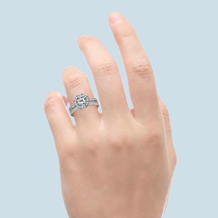 Hexagon Halo Engagement Ring & Matching Band In White Gold   05
