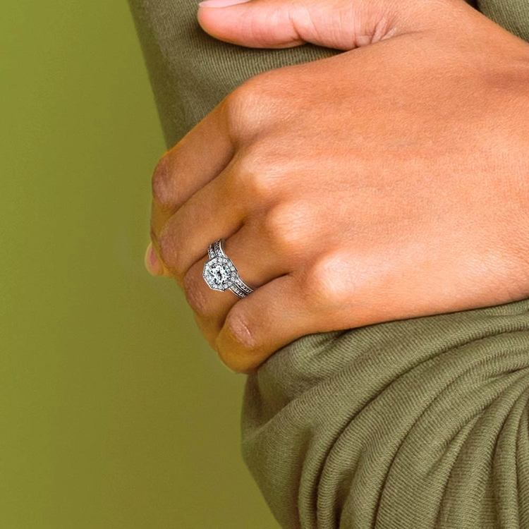 Hexagon Halo Engagement Ring & Matching Band In White Gold   06