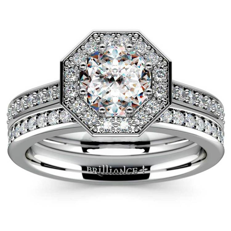 Hexagon Halo Engagement Ring & Matching Band In White Gold   01
