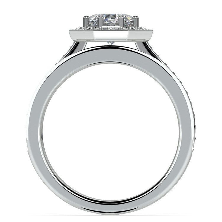 Hexagon Halo Engagement Ring & Matching Band In White Gold   02