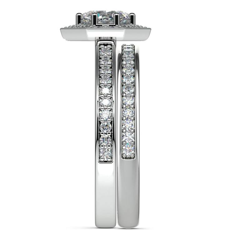 Hexagon Halo Engagement Ring & Matching Band In White Gold   03