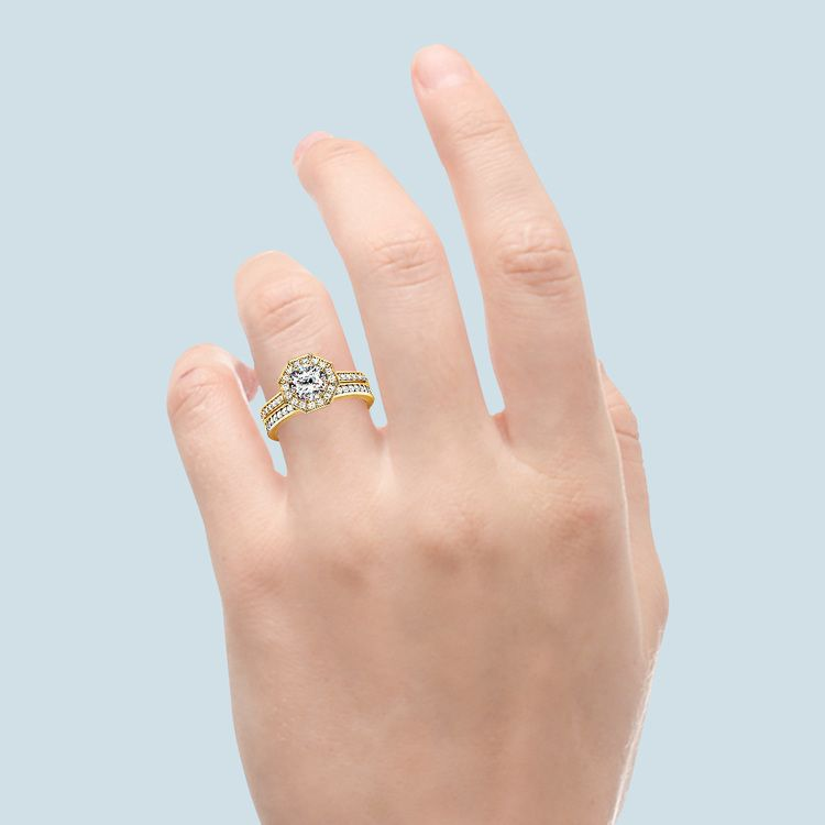 Hexagon Halo Engagement Ring & Matching Band In Yellow Gold | 05