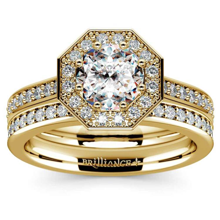 Hexagon Halo Engagement Ring & Matching Band In Yellow Gold | 01
