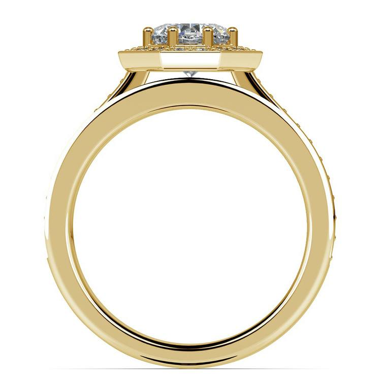 Hexagon Halo Engagement Ring & Matching Band In Yellow Gold | 02