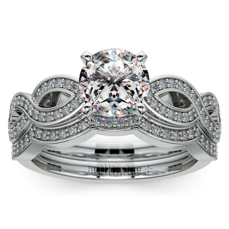 Infinity Diamond Engagement Ring & Wedding Band Bridal Set in White Gold   01