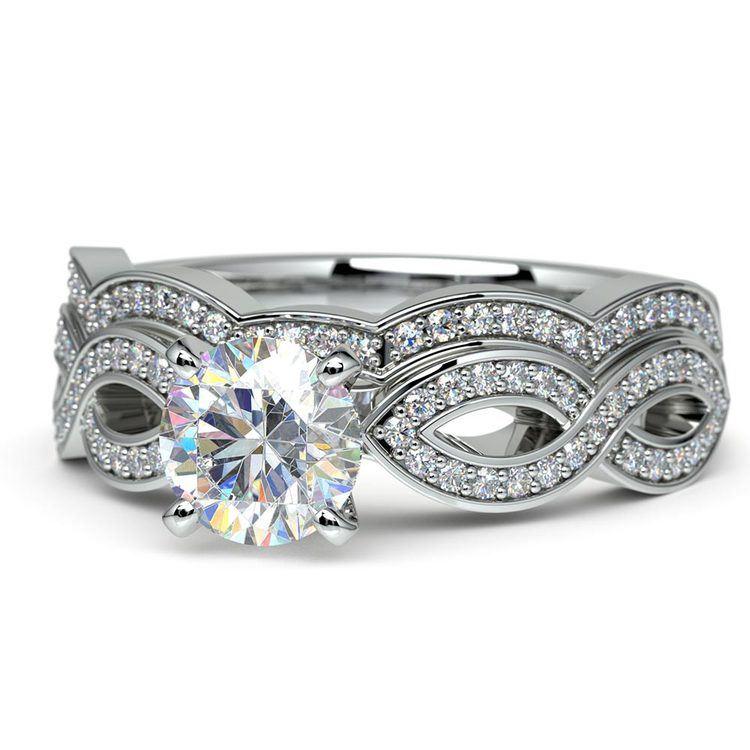 Infinity Diamond Engagement Ring & Wedding Band Bridal Set in White Gold   04