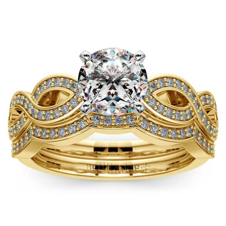 Infinity Engagement & Wedding Ring Bridal Set In Yellow Gold | 01