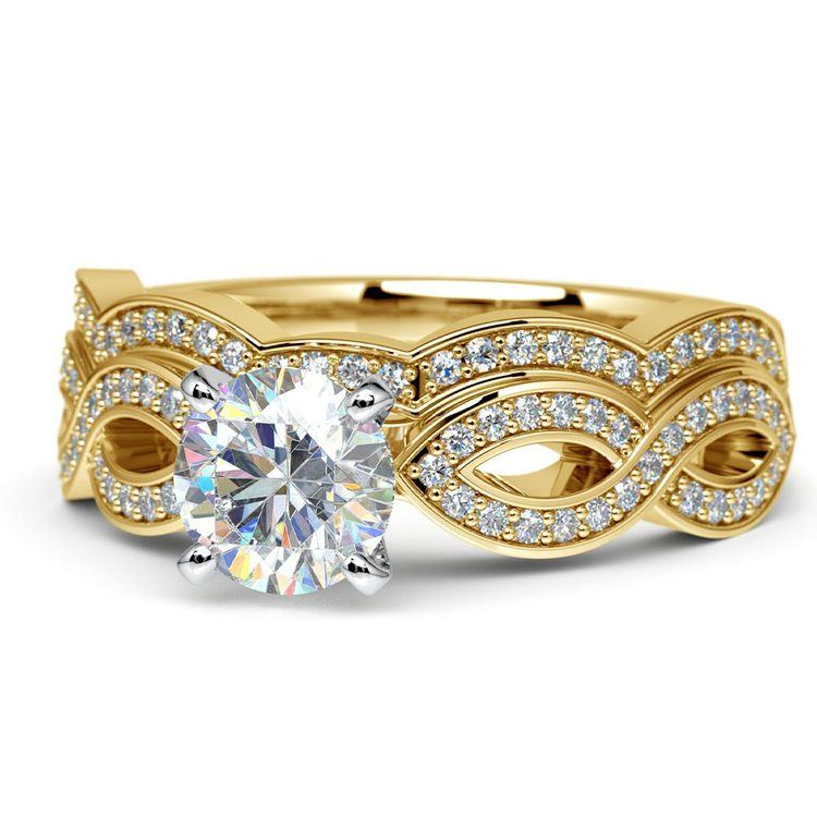 Infinity Engagement & Wedding Ring Bridal Set In Yellow Gold | 04