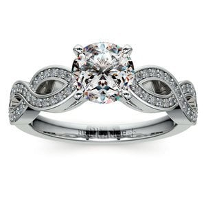 Infinity Twist Cathedral Diamond Engagement Ring in Platinum