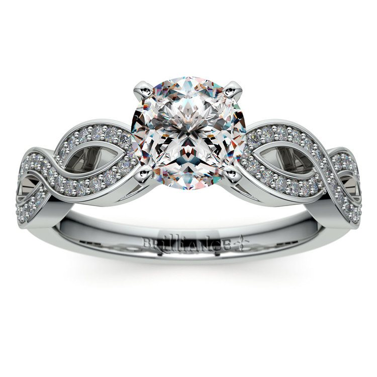 Infinity Twist Cathedral Diamond Engagement Ring in Platinum | 01