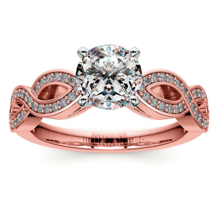 Infinity Twist Cathedral Diamond Engagement Ring in Rose Gold | 01