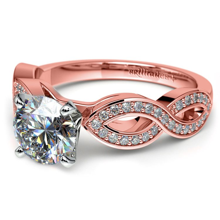Infinity Twist Cathedral Diamond Engagement Ring in Rose Gold | 04