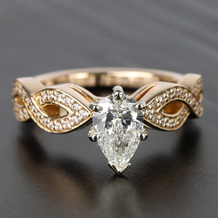 Infinity Twist Cathedral Diamond Engagement Ring in Rose Gold | 05