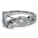 Infinity Twist Cathedral Diamond Engagement Ring in White Gold | Thumbnail 04